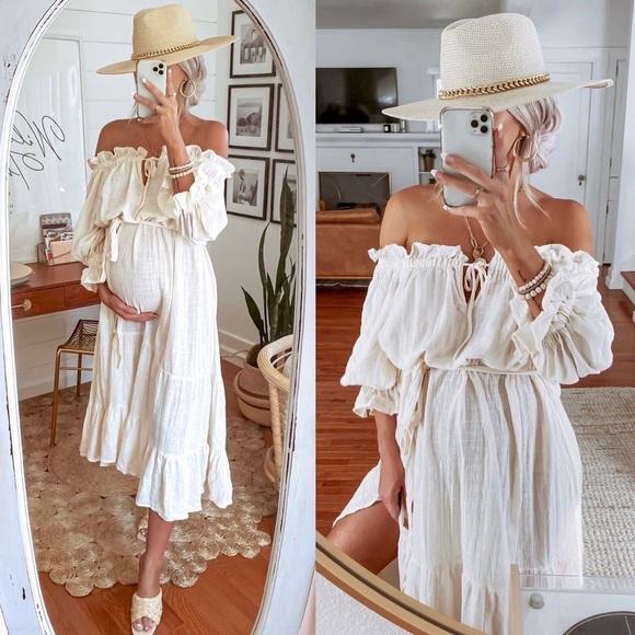 🖤 VICI Boho Cotton Midi Cream Dress